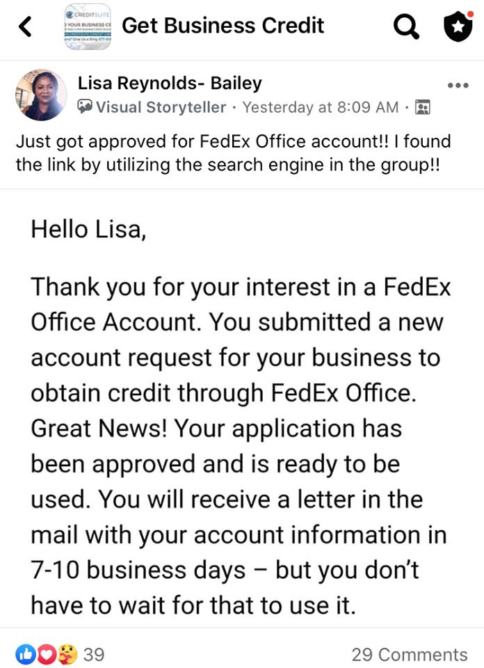 FedEx Office Account Approval Credit Suite - Business Credit Results