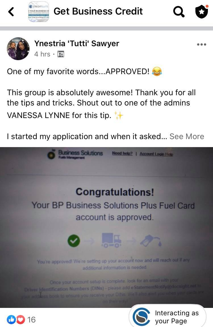 Fuel Card approval Credit Suite - Business Credit Results